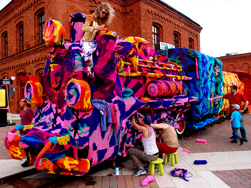 Olek's Crocheted Locomotive