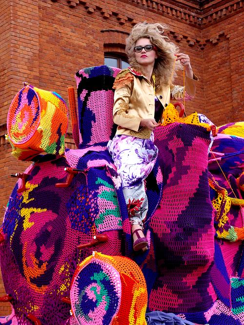Olek's Crocheted Locomotive