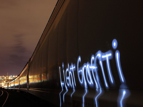 Light Graffiti On Train